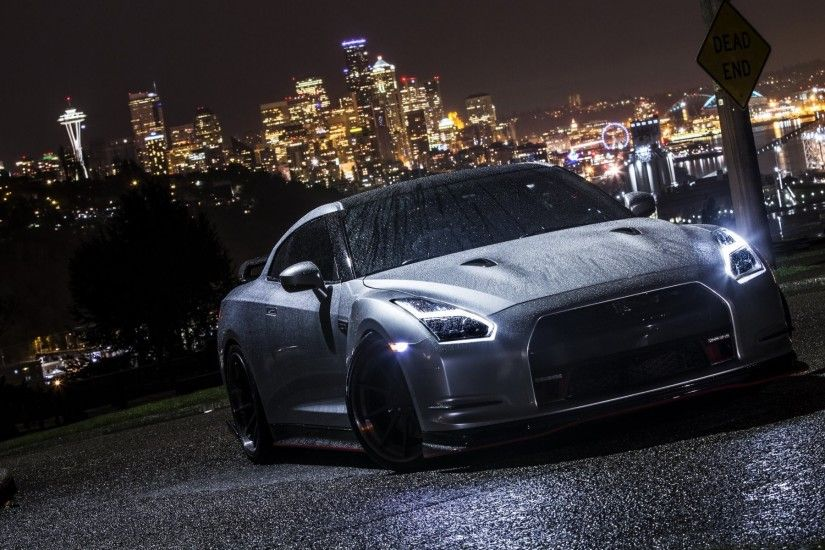 nissan gt-r car night wet HD wallpaper