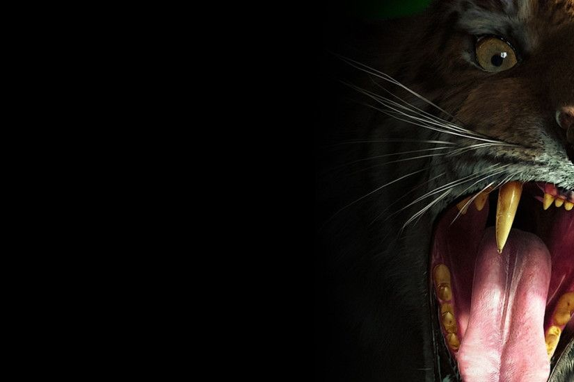 Preview wallpaper tiger, teeth, scary, evil 2560x1080