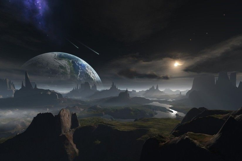 Outer space planets Earth fantasy art science fiction wallpaper | 1920x1200  | 275142 | WallpaperUP