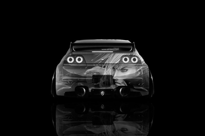 ... Nissan-Skyline-GTR-R33-Back-Anime-Aerography-Car-