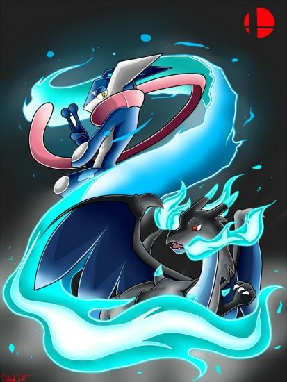 SSB4: Greninja and Mega Charizard by NeonCelestia20