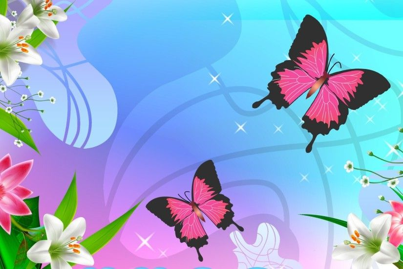 Butterflies And Flowers - Cute Wallpaper
