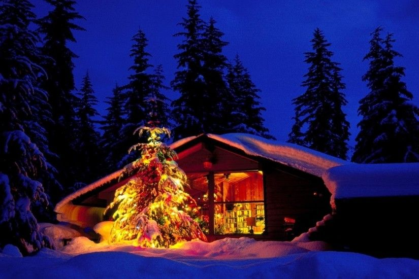 Free Christmas Cabin And Tree In Deep Snow - Landscapes Christmas Desktop  Wallpaper and Computer Background