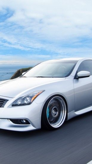 1350x2400 Wallpaper infiniti, g37, coupe, side view, speed