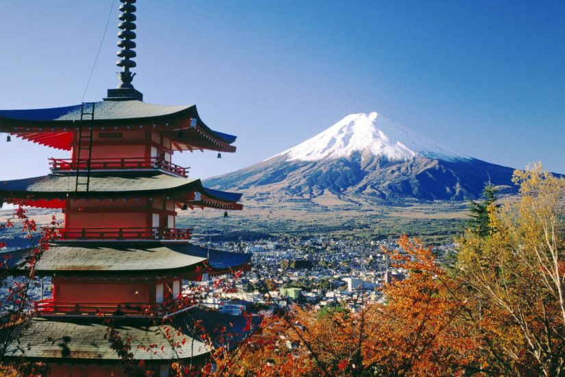download cool hd fujiyoshida and mount fuji japan wallpaper