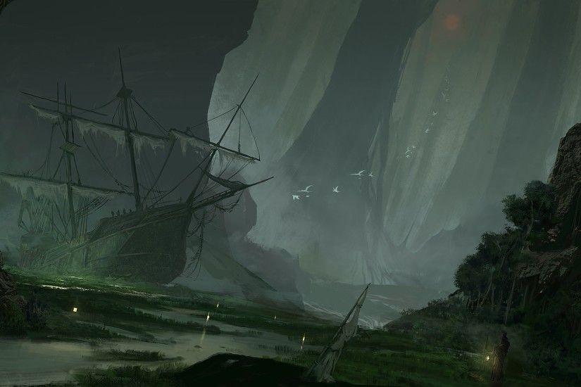 artwork, Fantasy Art, Ship, Sailing Ship, Swamp, Abandoned, Sinking Ships  Wallpapers HD / Desktop and Mobile Backgrounds