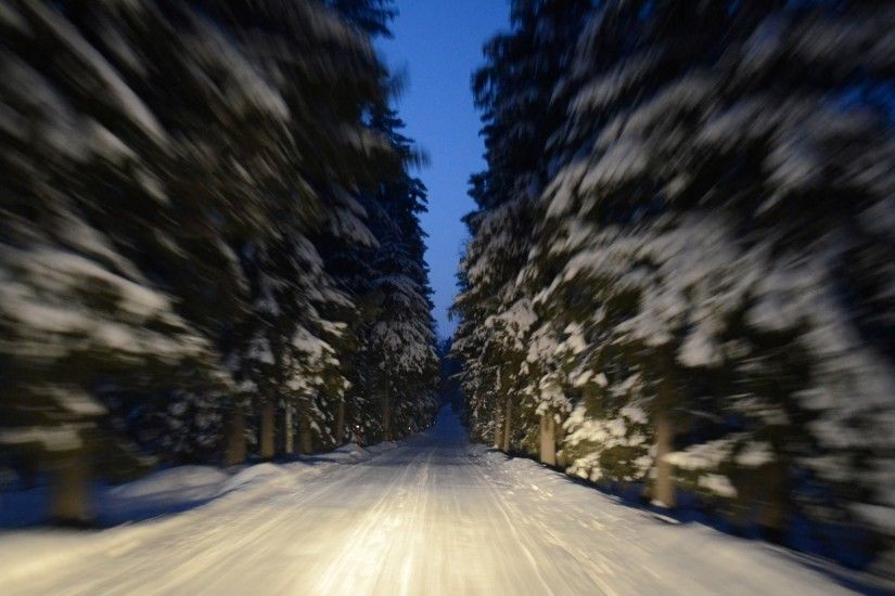 close up road winter snow tree finland finland motion