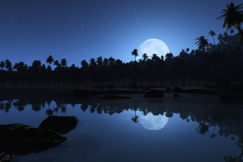 Full Moon Blue Night Wallpaper In Resolution Free Wallpapers .