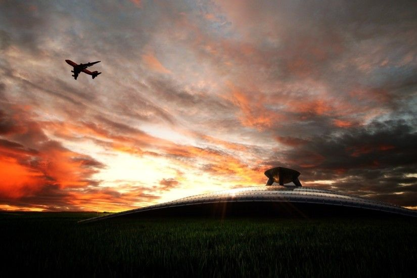HDR wallpapers - plane in the sky.