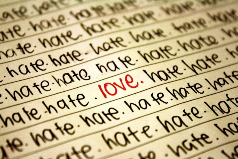 The word love between the words of hate