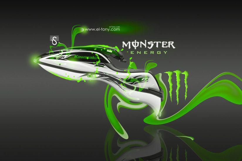 Monster Energy Kawasaki JetSki SX R Green Plastic