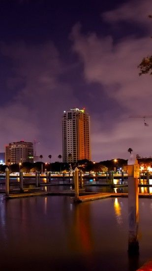 1440x2560 Wallpaper saint petersburg, florida, panorama, city, river, beach,  night