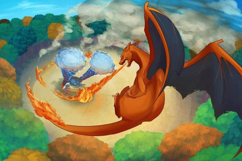 Blastoise and Charizard - Pokemon wallpaper