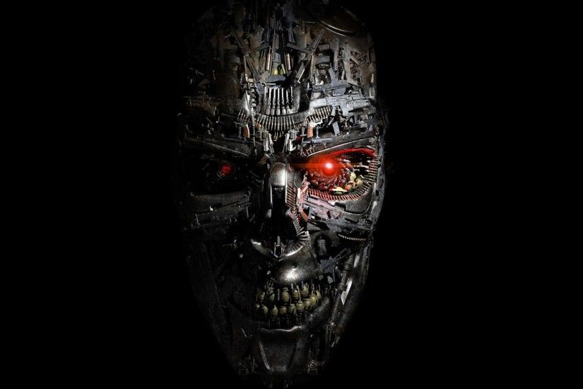 Terminator Genisys, Robot, Cyborg, Face, Red Eyes, Science Fiction, Black  Background, Metal, Teeth, Gears, Steel, Digital Art, CGI, Artwork, Skull,  ...