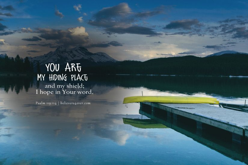 My hiding place Christian wallpaper with Bible verse and scripture