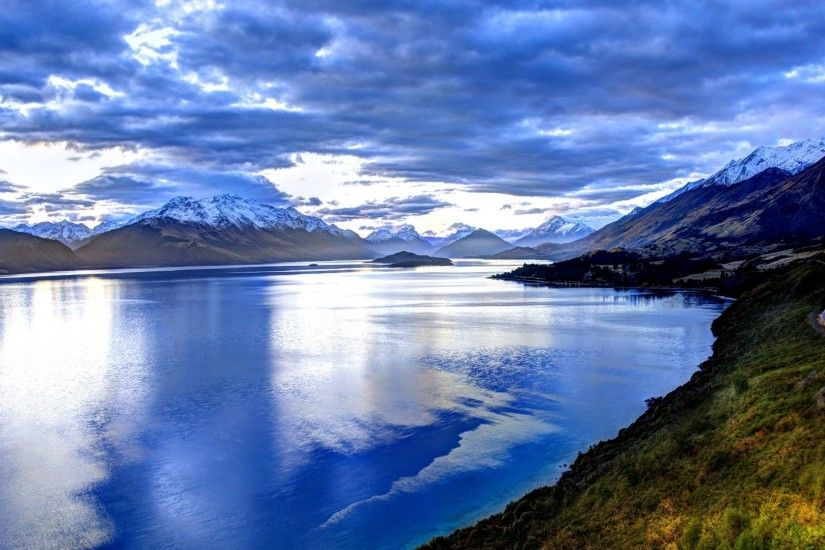 Queenstown Tag - Icy Blue Lake Peaceful New Zealand Landscape Sky Splendor  Water Mountains Nature Reflection