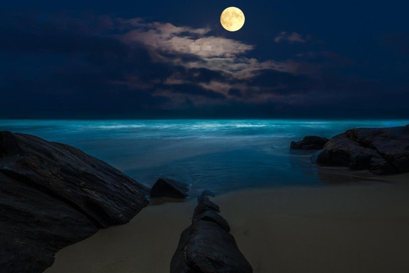 Beach Full Rocks Moon Night Wallpaper Iphone