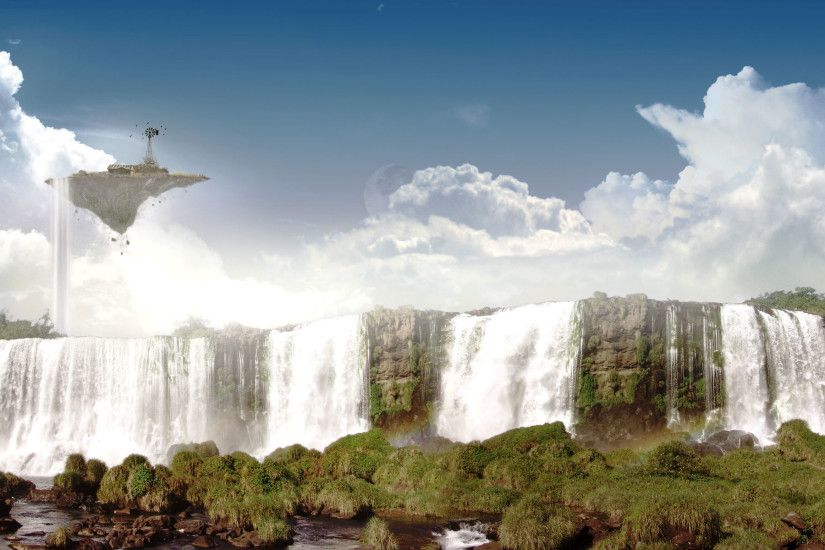 Floating Island and big Waterfalls 1920x1200 wallpaper