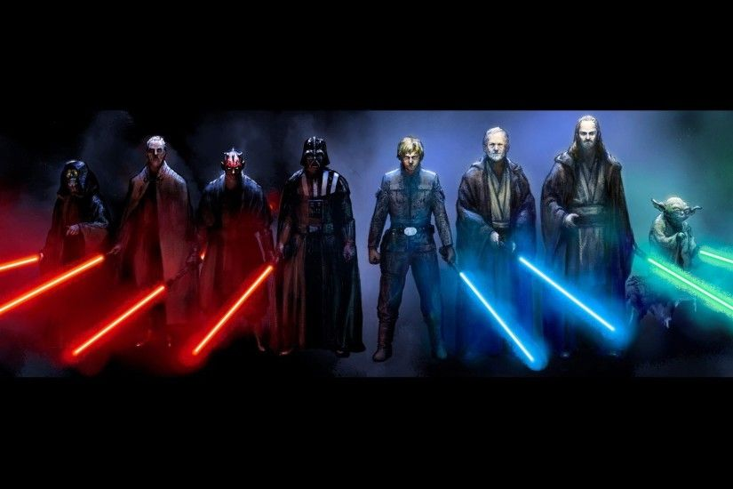 Star Wars Lightsaber Characters 1920x1080 wallpaper