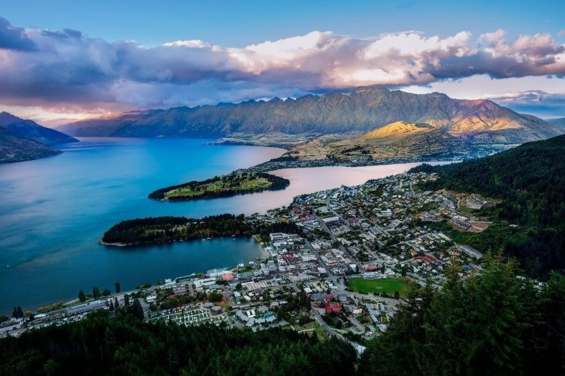 landscape, Queenstown, New Zealand, City, Cityscape, Mountains, Sea, Clouds  Wallpapers HD / Desktop and Mobile Backgrounds