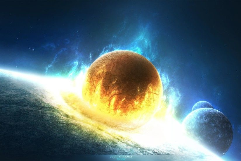 Wallpaper clash asteroid planet cataclysm explosion wave