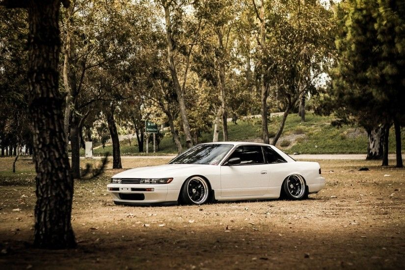 forest cars tuning white cars tuned Nissan Silvia S13 stance jdm wallpaper