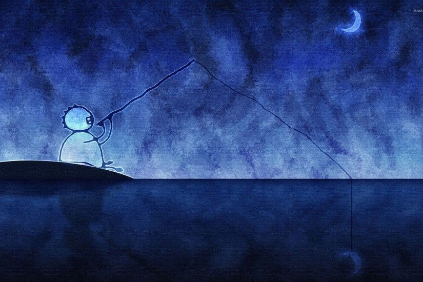 Fishing the moon reflection in the lake wallpaper 1920x1200 jpg