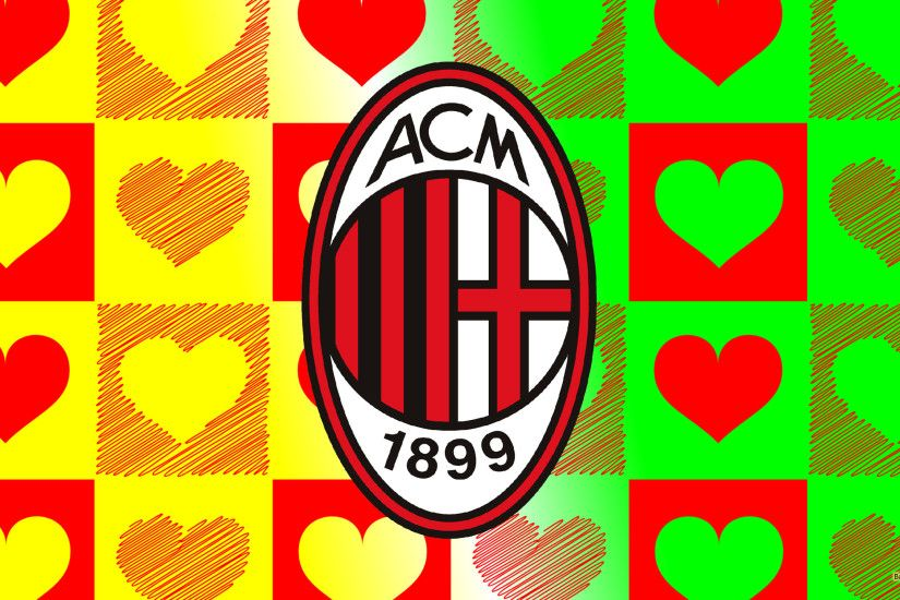 Green yellow Ac Milan football wallpaper with hearts