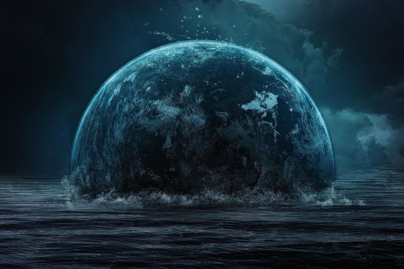... end of the world, planet, space, water. Open wallpaper