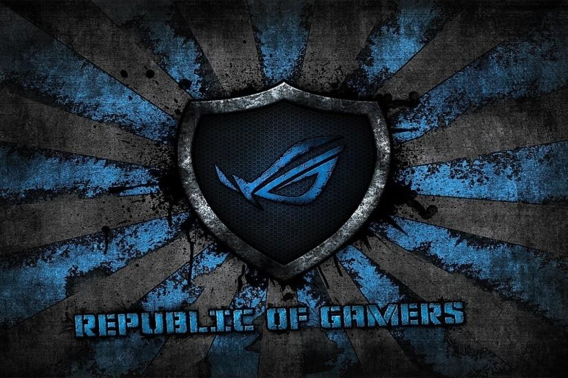 asus logo asus gamer republic of gamers brand blue grey rog background