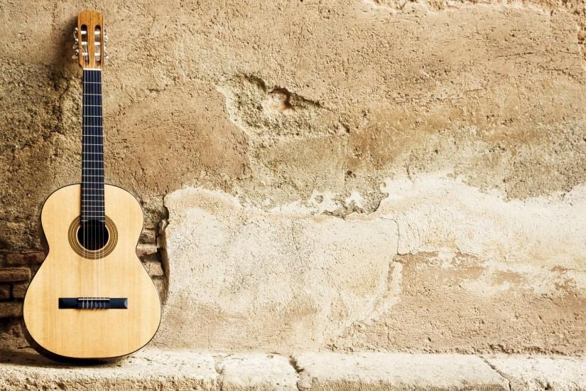 Acoustic Guitar On Wall Wallpapers.