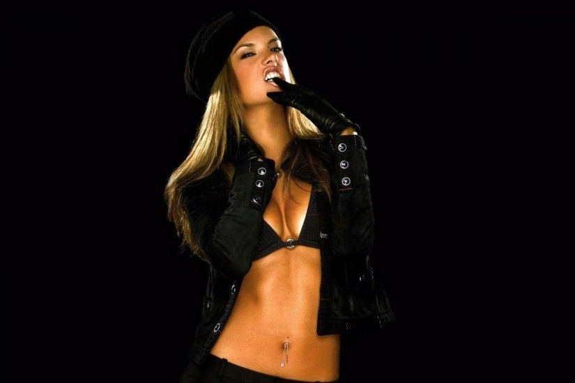 Alessandra Ambrosio Bikinis Cleavage Exposed Midriff Hats Black Outfits