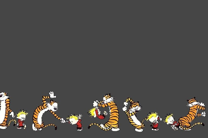 Cute Calvin Hobbes Dual Screen Wallpaper