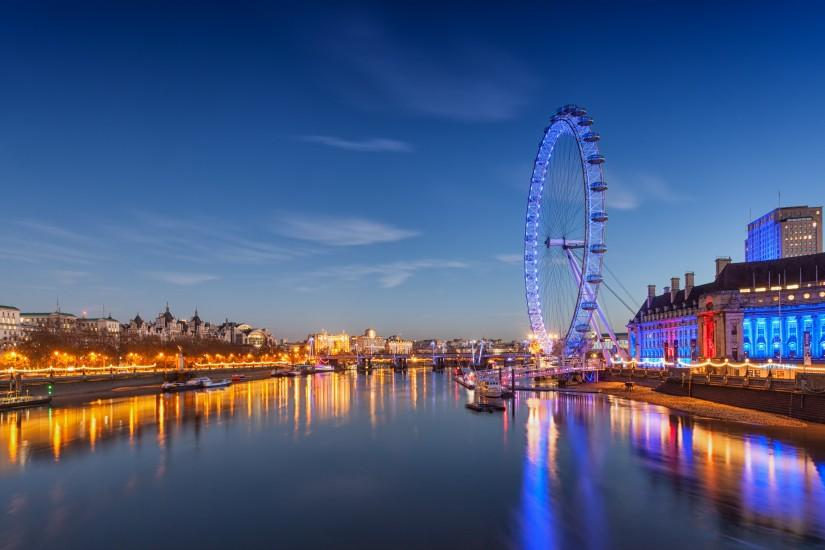 lake sunset landscape london eye twalight night ultrahd 4k wallpaper .