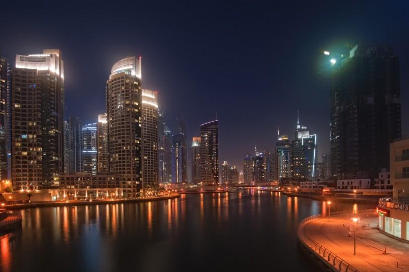 Preview wallpaper dubai, city, skyscrapers, water, night, lights 1920x1080