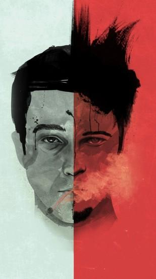 Preview Wallpaper Fight Club Edward Norton Brad Pitt Art 1080x1920