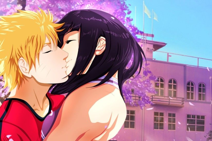 Naruto Shippuuden, Manga, Anime, Uzumaki Naruto, Hyuuga Hinata, Kissing,  Cherry Blossom Wallpapers HD / Desktop and Mobile Backgrounds