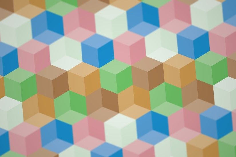 digital Art, Colorful, 3D, Cube, Depth Of Field, Optical Illusion, Artwork,  Abstract, Pastel, Geometry Wallpaper HD