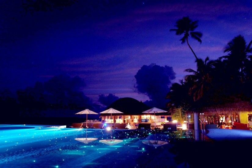 Beach Maldives Heavenly Tropical Summer Night Relax Wallpaper