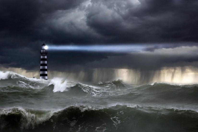 Lighthouse in the storm wallpaper #7532