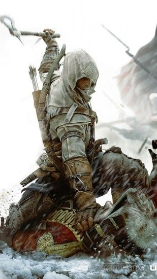 1440x2560 Wallpaper assassins creed 3, desmond miles, axe, soldier, flag