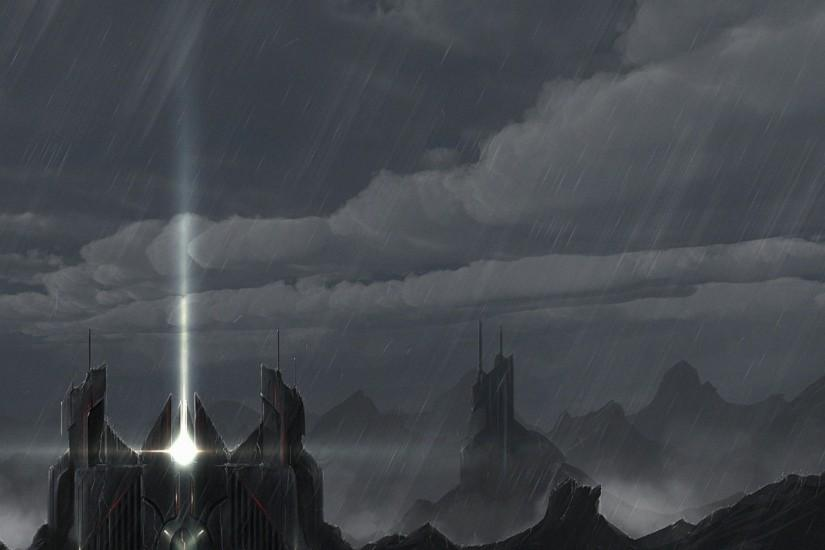 Preview wallpaper castle, beam, rain, future 1920x1080