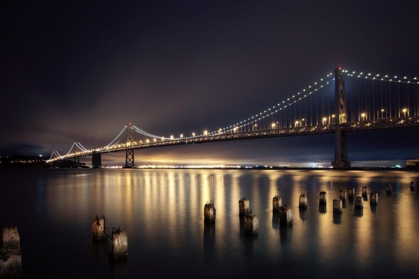 3840x2160 Wallpaper san francisco, night, bridge, city, lights, river