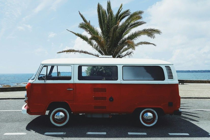 vw bus, Red, France, Beach, Concarneau, White, Palm trees Wallpapers HD /  Desktop and Mobile Backgrounds