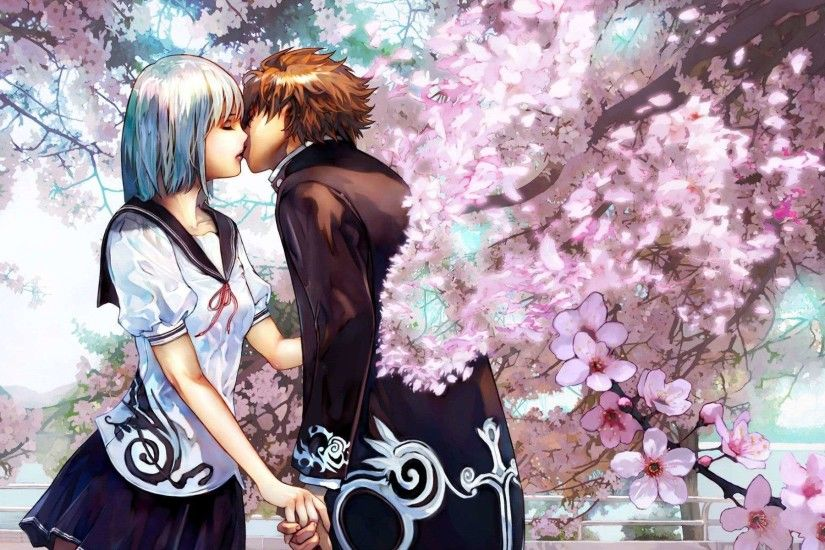 Cute Anime Couple Kiss HD Wallpaper
