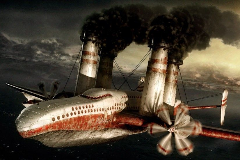 Sci Fi - Steampunk Airplane Aircraft Wallpaper