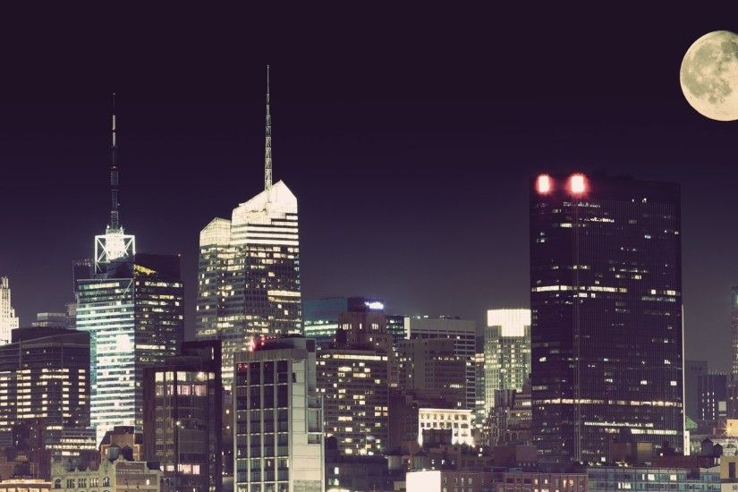 1920x1080 Wallpaper city, night, moon, new york