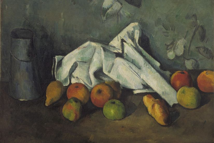 Home-Art Framed Paul Cezanne Still Life With Jug And Fruit 1890 Chinese  Unique Gift Wall Decor Paintings Modern Bed Room Background Black And Re