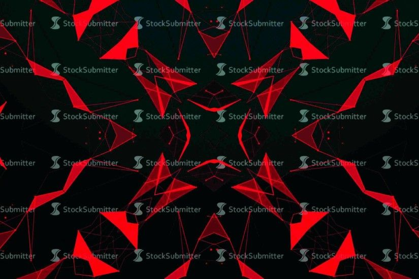 Red Technology Pattern Background. Hi-tech Lines and Polygons Art  Animation. 4K Abstract Kaleida