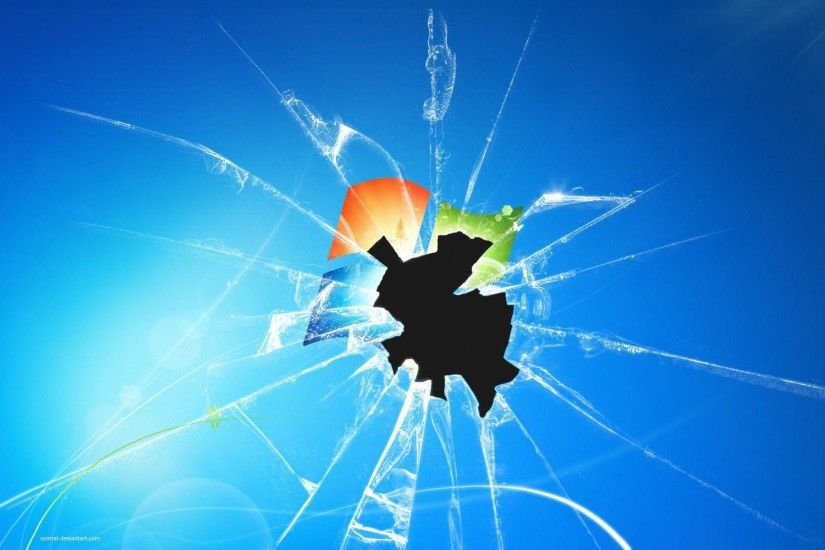 Broken Window Glass For Desktop Wallpaper Stock Photo